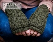 Afton Fingerless Mitten Knitting Pattern with Cables, PDF Pattern, Digital Download