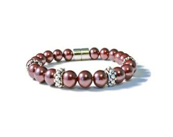 Burgundy Pearl Magnetic Hematite Bracelet, Holistic Health, Arthritis Relief