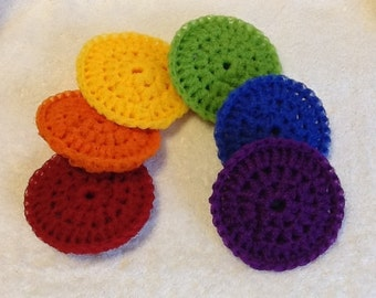 Set of Six Rainbow Nylon Dish Scrubbies