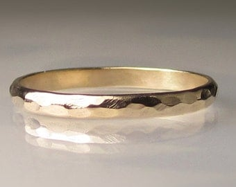 Women's Gold Wedding Band, 2mm recycled 14k Yellow Gold Ring, Eco Friendly Band