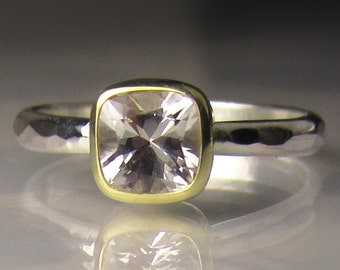 Square Cushion Cut Herkimer Diamond Engagement Ring, Sterling Silver and 18k Yellow Gold