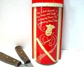 Vintage Hanging Knife Holder, Red and White Kitschy Singing Chef Design Shabby Chic Kitchen Organizer,