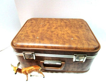 Vintage TrainCase, Salesman Case, Craft Supply Carrier, Brown Hand Luggage Carry On Overnighter, Extra Deep, Vinyl Lining, Going to Grandma