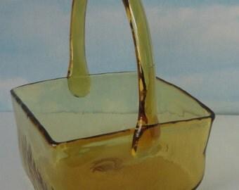 Hand Blown Amber Glass Basket. Art Glass Basket