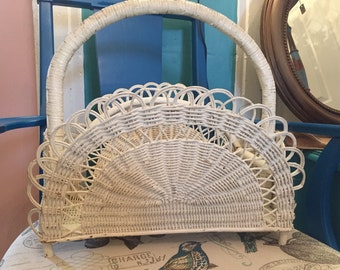 Vintage White Wicker Fan Shaped Magazine Holder