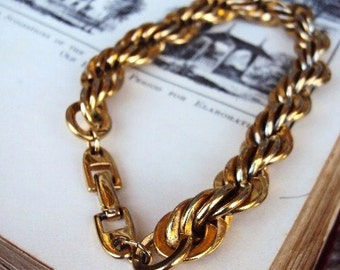 Vintage Napier Chain Bracelet Thick Linked Links Gold Plate Costume Jewelry