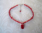 Vintage Jewelry Pendant Necklace Red Stone Choker Women's Red Necklace