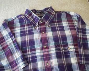 Vintage Clothing Men's Gant Short Sleeve Foxhunt Plaid Shirt XL Button Down Collar Hong Kong
