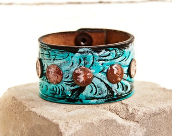 Turquoise Jewelry Handpainted Cuff Bracelets - Spring Etsy Finds Southwest Tooled Embossed Stamped Leather