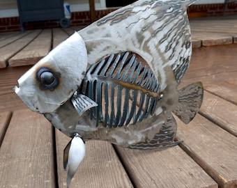 Angelfish sculpture - Metal angelfish - Nautical themed art - Angelfish bone fish - Steel bone fish - Office fish art - Metal angelfish art