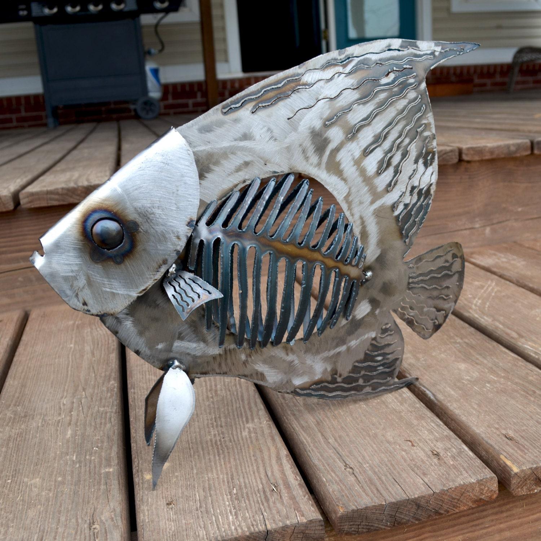 Angelfish sculpture metal angelfish nautical themed art for Metal fish art
