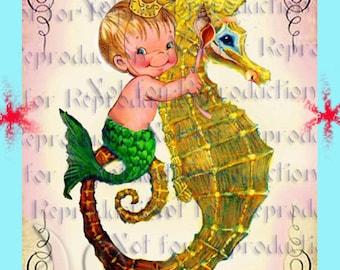BABY ROOM DECOR Baby Mermaid Merboy Merbaby Quilts Applique Baby Fabric Block Quilt Panel Fat Quarter merb07.