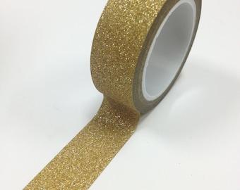 Washi Tape - 15mm - Metallic Gold Sparkle - Deco Paper Tape No. 916