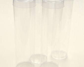 6 Clear FDA Large Plastic Round Storage, 1.5 Inch Diameter x 6 Inch Candy or Favor Tubes with Clear Caps