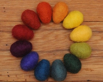 Rainbow Felted Eggs, Set of 12 Large Wool Needle Felted Easter Eggs with optional Nest