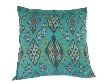 Ikat, Pillow, Cushion, Ethnic, Bohemian, Global Decor, Indonesian Textiles, Graphic, Geometric, 16 x 16