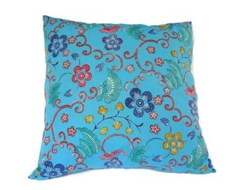 "Pillow, Cushion, Batik, 18"" x 18"", Turquoise"