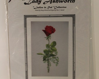 Lady Ashworth Rose Ladies in Red Collection Counted Cross Stitch Pattern