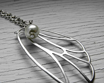 Butterfly Wing  Necklace Silver with Ivory Pearl and Silver Chain