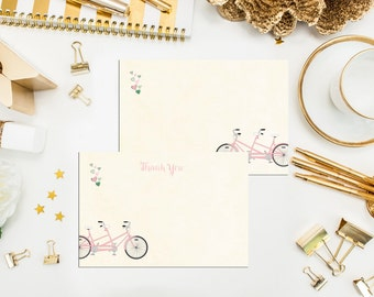 Tandem Bicycle Thank You Cards. Unique. Bridal Shower Thank You Cards. Set of 10 Thank You Cards. Flat 4x6 Bicycle Cards. Thank Yous