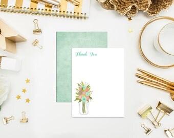 Mason Jar Thank You Cards. Unique. Mason Jar Cards. Set of 10 Thank You Cards. Flat A1 Floral Mason Jar Cards. Jar Thank You. Bridal note.