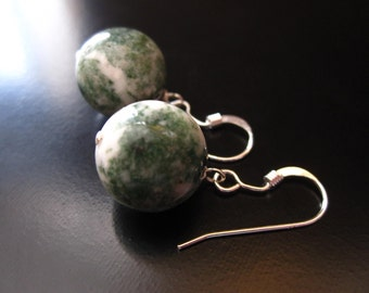 Tree Agate Earrings, Tree Agate Round Beads, Sterling Silver, Green White Earrings, Agate Earrings, Green Agate Jewelry, Agate Jewelry