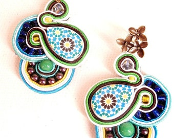 blue boho earrings , summer trends earrings , chic statement stud yellow mosaic earrings ,  handmade soutache earrings ,  blue earrings