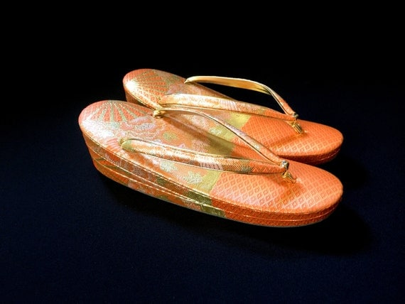 Vintage Japanese Formal Zori Sandals - Gold And Orange Shoes - Kimono Shoes Traditional Japanese
