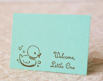 Baby Shower Wish Cards Rubber Duck Mint Green Its a Boy or Girl Tags Set of 25