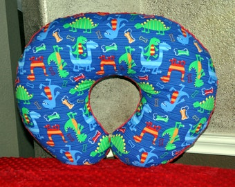 NURSING PILLOW COVER - Navy Dino Dudes & Red Minky Dot Nursing Pillow Cover with Zipper Closure - Ready to Ship!