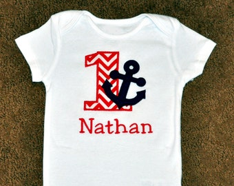 Birthday Boy Outfit - Personalized First Birthday Nautical Anchor Appliqued Body Suit or T-shirt, Sizes 12, 18, or 24 months
