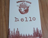 "4 ""Smokey Says Hello"" Post Cards - Reserved for Mary-Katherine"