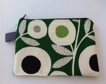 new // modern flowers //  zippered medium pouch // clutch