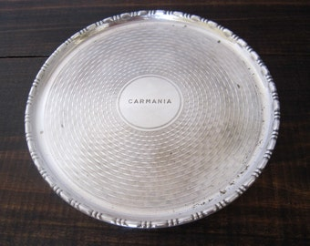 Antique English Silverplate Tray Carmania Ocean Liner by Birmingham Handicrafts LTD