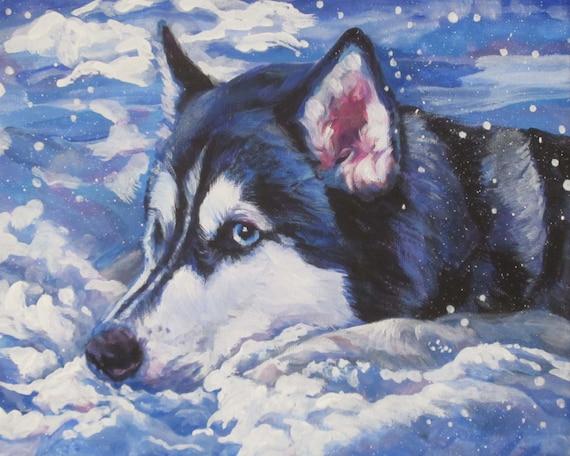 Siberian Husky Dog Art Portrait Canvas Print Of La Shepard
