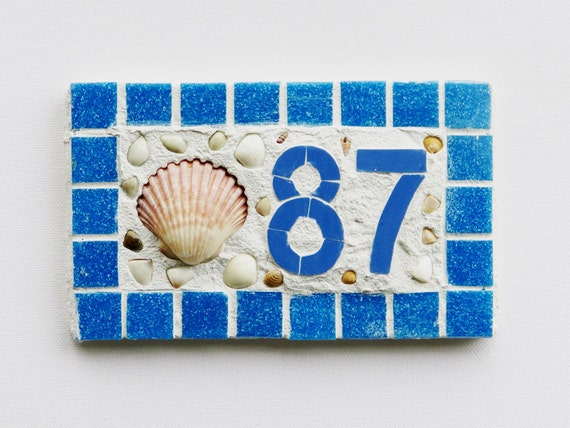 ... Plaque Beach House Number Small 2 Digit Blue Mosaic Fan Shell Mailbox