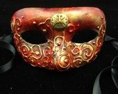 Templar Mask, Red and gold eyemask with 3D swirls, gold gilding, and gold Templar cross embellishment