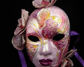 OOAK Orchid ArtMask, Fullfaced Haute Couture Orchid Paper Mache Mask