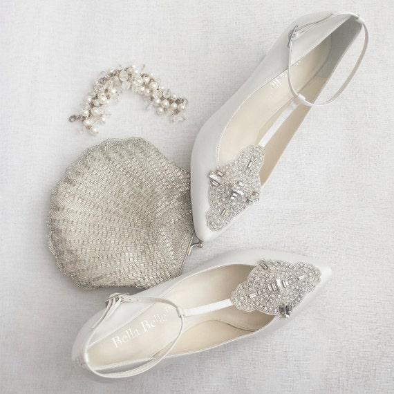Art Deco White or Ivory Wedding Shoes with Great Gatsby Crystal Applique T-Strap Kitten Heel Silk Satin Bridal Shoes