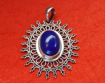 Balinese sterling Silver Lapis Lazuli Pendant / silver 925 / Bali handmade jewelry / 1.50 inch long