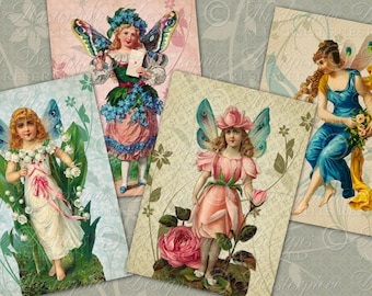 Fairies Flora Printable Hang Tags / Fairy Make Believe Floral Flowers - 2.5x3.5 Inch Printable Tags, Download and Print Digital Sheet