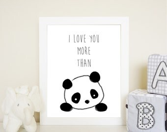 I Love You More than Pandas wall art print - 8 by 10 inch