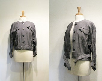 Vintage Gray Chambray Belted Cropped Jacket