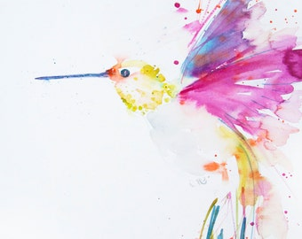 print of my  HUMMINGBIRD wall art, home decor, nursery art, wildlife animal art.  hand signed, illustration, animal art