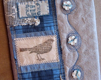 bird art quilt collage journal vtg linen fabric notebook blank book ephemera upcycle