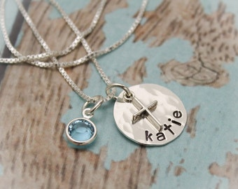 Personalized Sterling Silver Disc with Cross Necklace for Confirmation or First Communion Hand Stamped Jewelry Date on Back