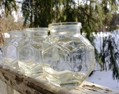 Vintage Ball Glass Jars Hexagon Honeycomb Unusual Shape set of 3