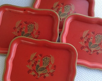 Vintage Mid Century Rooster on Red Tray Set