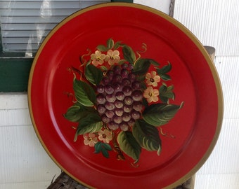 "Vintage Mid Century Grape Flower Hand Painted Tole Large 19"" Metal Tray Red Gold Trim"