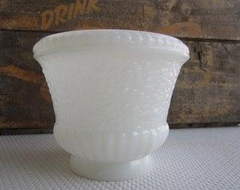 Vintage Milk Glass Inarco Pebble Texture Planter Vase